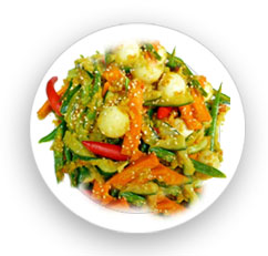 Carrot-Cucumber Acar with Fried Garlic