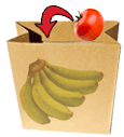 Banana ripens quickly in brown paper bag